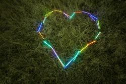 heart of lightstick on the grass