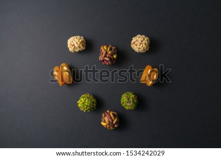 Heart of pistachio confectionery.   Copy space. Flat lay. Top view.