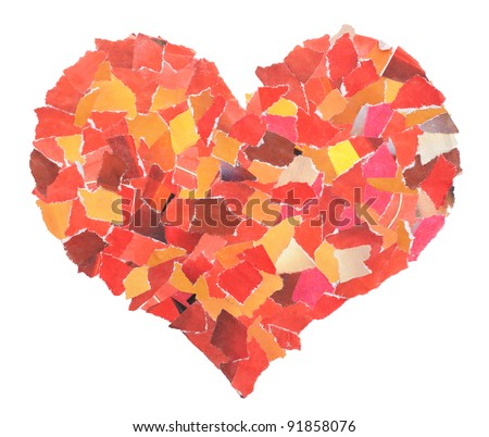 Heart of slices of a red paper isolated on white. Valentine's Day