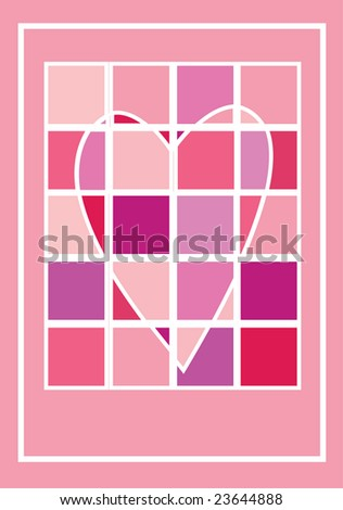 Heart of squares in pink shades