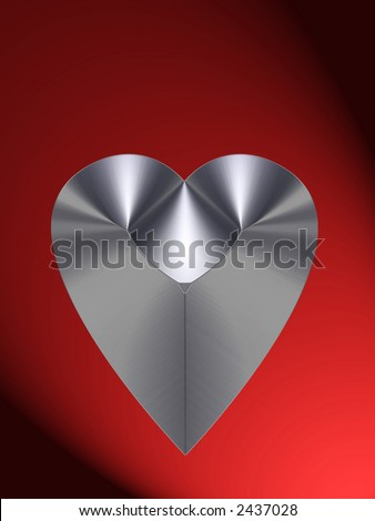 Heart of steel on a red background. Clipping path included. (Part of heart series).