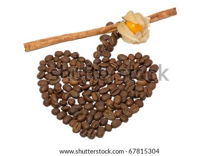 heart of the coffee and cinnamon - stock photo