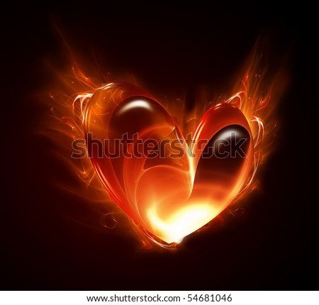 heart of the fire on a dark background