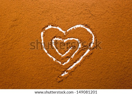 heart on a background powder cocoa