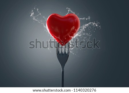 Heart on a fork (3D Rendering)