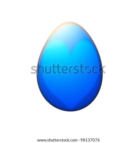 heart on easter egg isolated on white