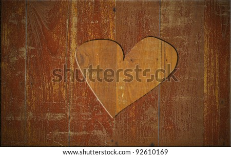 Heart on the wood board