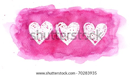 heart painted with watercolor paint