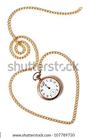 Heart path made with a gold chain and a pocket watch inside showing a few minutes to midnight, isolated on white background. Concept of permanence of love over time,the past or deadline.