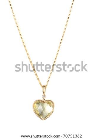 heart pendant of gold, diamond and lemon quartz