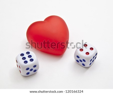 Heart plastic with dices