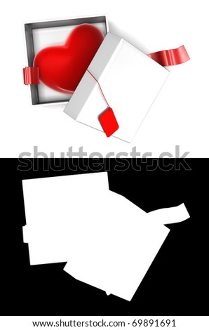 Heart present inside unwrapped white gift box with empty cardboard. Hi-res 3D rendered image with alpha mask and clipping paths.