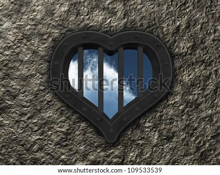 heart prison window on stone background - 3d illustration