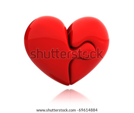 Heart puzzle from two parts connected together isolated on white background