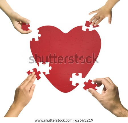 Heart puzzle. Happy family concept