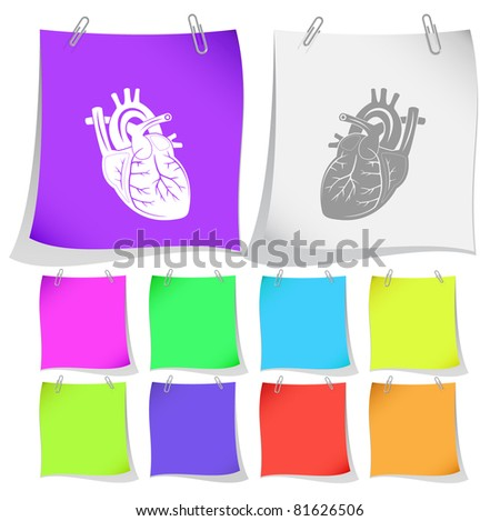 Heart. Raster note papers. Vector version is in portfolio.