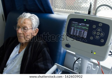 Heart rate monitor of a sick old man.