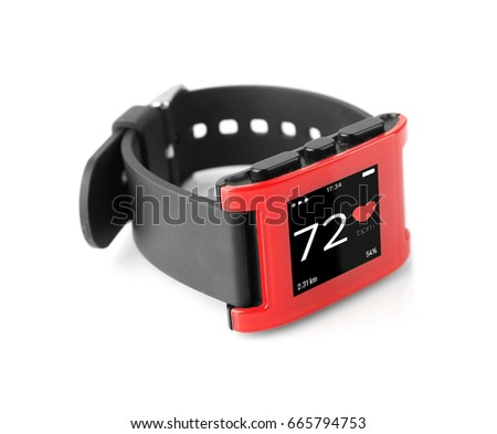 Heart rate monitor watch on white background