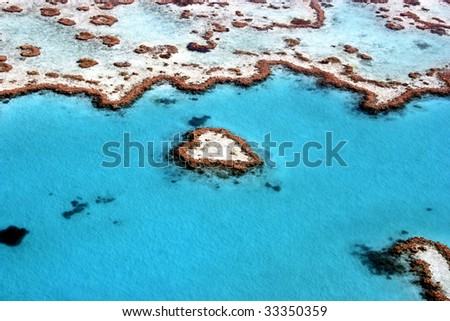 Heart Reef in The Great Barrier Reef, the largest coral reef in the world, Queensland, Australia