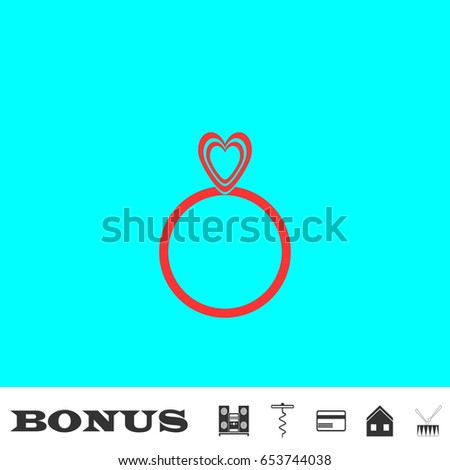 Heart ring icon flat. Simple red pictogram on blue background. Illustration symbol and bonus icons Music center, corkscrew, credit card, house, drum