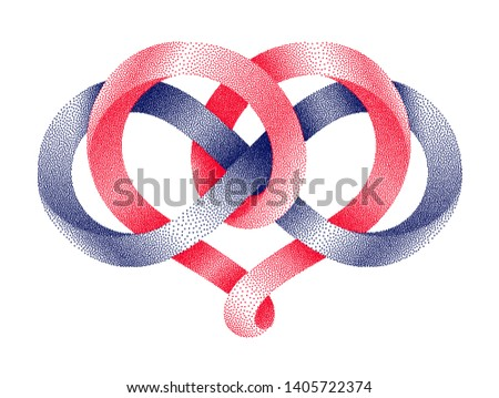 Heart shape and infinity symbol made of intertwined stippled mobius strips.. Eternal love sign. 3d illustration isolated on a white background.