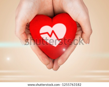 Heart shape assistance human hand valentines day sharing love palm #1255763182
