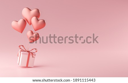 Heart Shape Ballon Carrying Gift Box Copy Space 3D Rendering