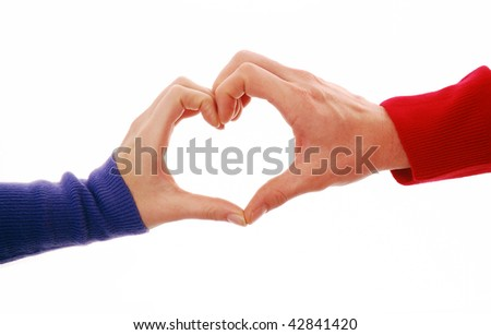 Heart shape being made by female and male hands together on white background