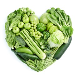 heart shape form by various vegetables and fruits