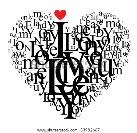Heart shape from letters - typographic composition - for VECTOR version visit my portfolio