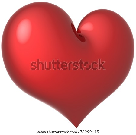 Heart shape in Love classic colored red. Beautiful romantic feeling abstract. Valentine's Day greeting card design element template. This is a detailed render 3d (Hi-Res). Isolated on white background