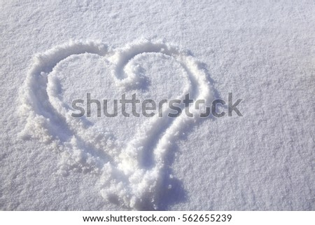 Heart shape in snow. #562655239