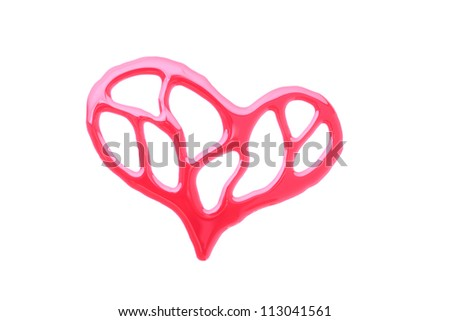 Heart shape ink of blood isolated