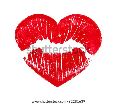 heart shape kissing lips isolated over a white background
