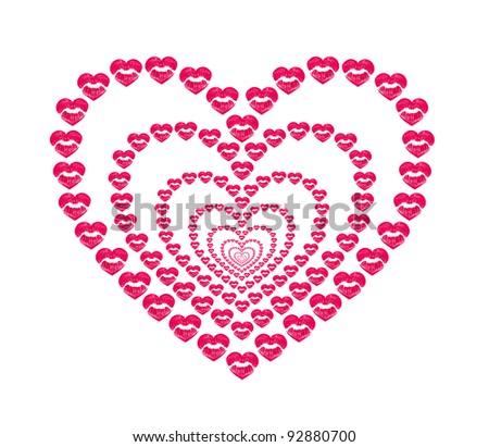 heart shape kissing lips on a white background