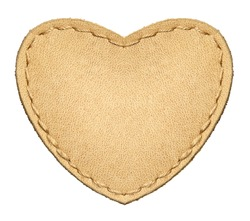 Heart shape leather label, isolated.