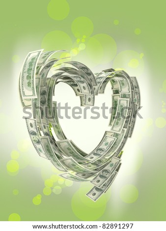 Heart shape made by dollars isolated