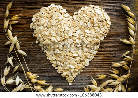 Heart shape made from oat flakes