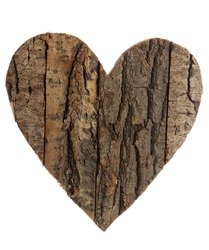 heart shape made of bark and wood, isolated on white