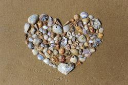 Heart shape made of seashells on sand.
