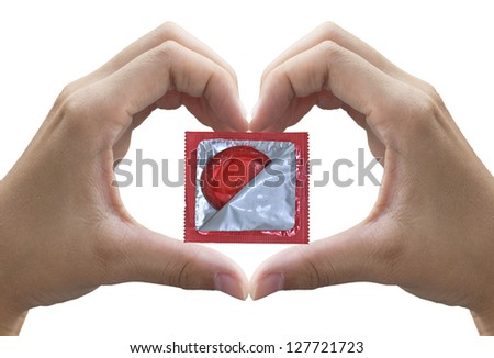 heart shape made of two beautiful palms with condom (with clipping path)
