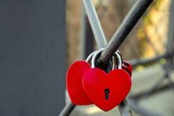 heart shape metal locks on bridge, copy  space, romantic Valentine's day greeting card