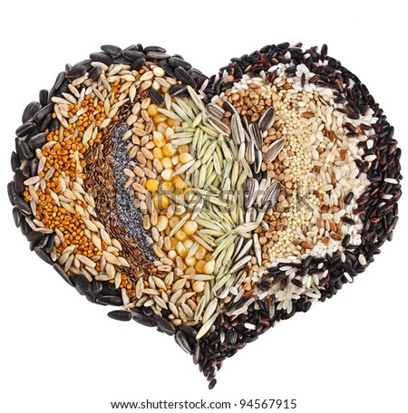 Heart Shape of Collection Cereal Grains and Seeds :Rye, Wheat, Barley, Oat, Sunflower, Corn, Flax, Poppy, Millet