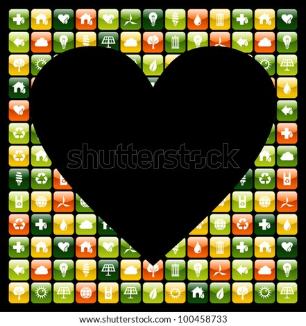 Heart shape over mobile phone green app icons background.