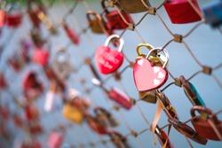 Heart-shape padlock in Love Lock Bridge, Salzburg, Austria
