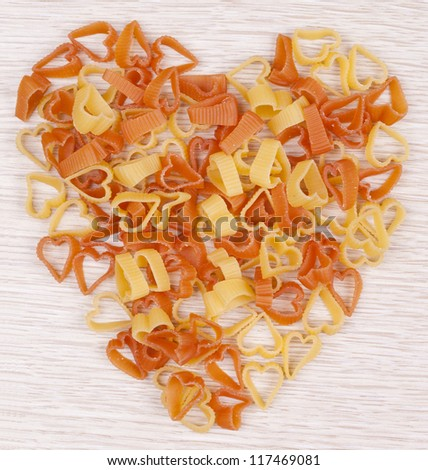 Heart shape Pasta in different color