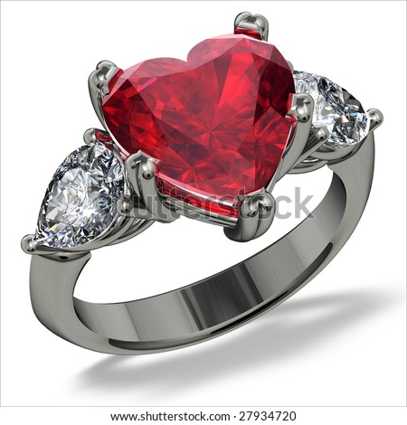 Heart shape ruby and diamond ring on white
