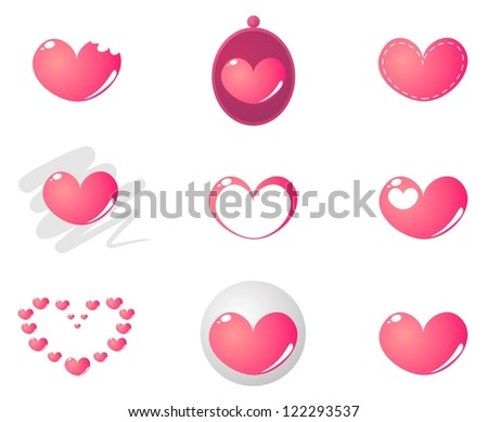 Heart shape set with 9 combinations isolated on white background. Love pink sign or valentines day symbol buttons
