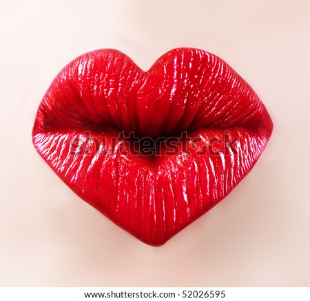 heart shape sexy lips for saint valentine kiss