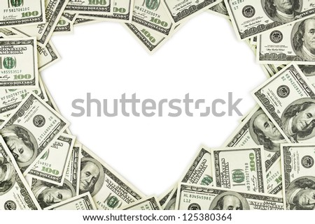 Heart shape sign with 100 dollar banknotes. Valentine concept background
